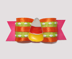 "#2825 - 5/8"" Dog Bow - Halloween Brights with Sweet Candy Corn"