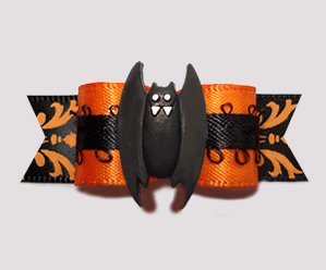 "#2826 - 5/8"" Dog Bow - Gorgeous & Spooktacular Vampire Bat"