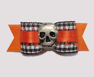 "#2832 - 5/8"" Dog Bow - Classic B/W Gingham on Orange with Skull"