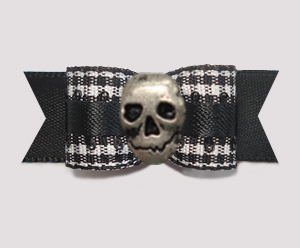 "#2833 - 5/8"" Dog Bow - Classic B/W Gingham on Black with Skull"