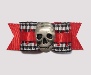 "#2834 - 5/8"" Dog Bow - Classic B/W Gingham on Red with Skull"