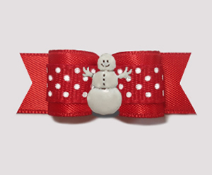 "#2838 - 5/8"" Dog Bow - Sweet Red w/ Sprinkle Dots, Happy Snowman"