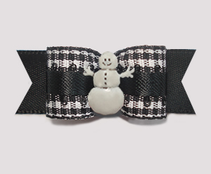 "#2840 - 5/8"" Dog Bow - Classic B/W Gingham on Black, Snowman"