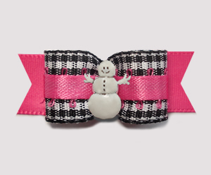 "#2841 - 5/8"" Dog Bow - Classic B/W Gingham on Hot Pink, Snowman"