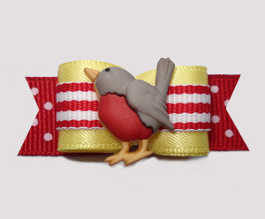 "#2842 - 5/8"" Dog Bow - Rockin' Robin, Tweet-Tweet, Red/Yellow"