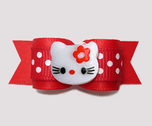 "#2843 - 5/8"" Dog Bow - Red/White Sweetheart Dots, Little Kitty"
