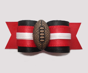 "#2844 - 5/8"" Dog Bow - Football, Black and Red"