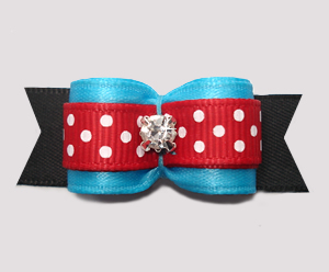 "#2848 - 5/8"" Dog Bow - Cute Blue w/Red Accent, Rhinestone"