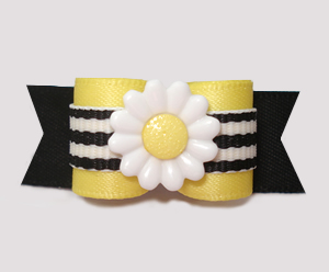 "#2850 - 5/8"" Dog Bow - BumbleBee Daisy, Yellow/Black Stripe"