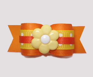 "#2852 - 5/8"" Dog Bow - Hazy Days, Orange/Yellow with Daisy"