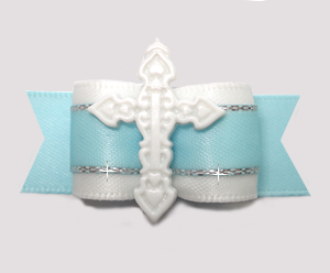 "#2855 - 5/8"" Dog Bow - Angelic White/Soft Blue with Cross"