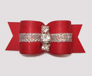 "#2860 - 5/8"" Dog Bow - Classic Red w/Silver, 3 Rhinestones"