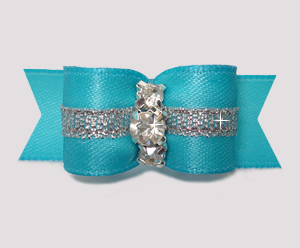 "#2861 - 5/8"" Dog Bow - Electric Blue w/Silver, 3 Rhinestones"