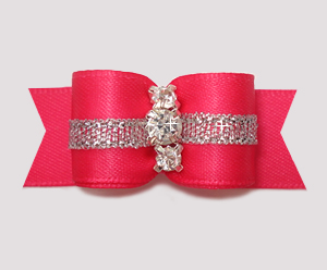 "#2862 - 5/8"" Dog Bow - Hot Pink w/Silver, 3 Rhinestones"