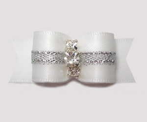 "#2863 - 5/8"" Dog Bow - Angelic White w/Silver, 3 Rhinestones - Click Image to Close"
