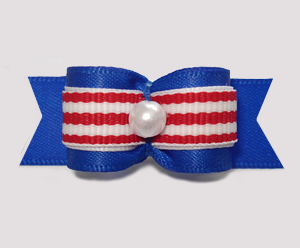 "#2868 - 5/8"" Dog Bow - Classic Blue with Red/White Stripes"