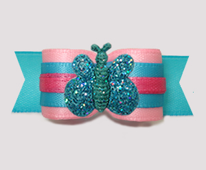 "#2875 - 5/8"" Dog Bow - Cotton Candy Pink/Blue, Sparkle Butterfly"