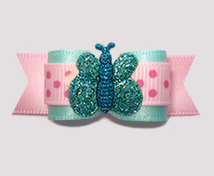 "#2878 - 5/8"" Dog Bow - So Cute! Spring Dots, Sparkle Butterfly"