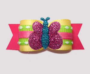 "#2880- 5/8"" Dog Bow - Summer Yellow/Pink/Lime, Sparkle Butterfly"