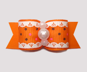 "#2882 - 5/8"" Dog Bow - Ruffles 'n Dots, Orange"
