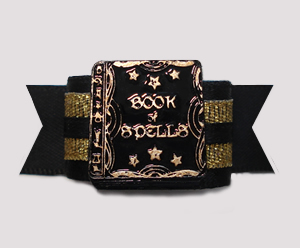 "#2888 - 5/8"" Dog Bow - Unique Book of Spells, Black/Gold"