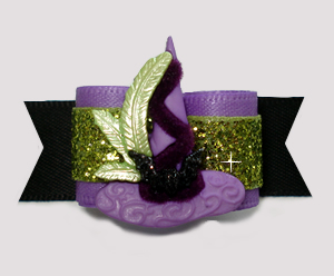 "#2890 - 5/8"" Dog Bow - Gorgeous Glitter, Witch's Hat w/Bat"