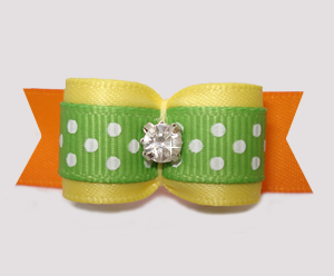 "#2895 - 5/8"" Dog Bow - Sunny Yellow/Orange/Green with Dots"