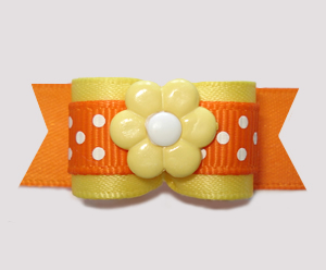 "#2896 - 5/8"" Dog Bow - Sunny Yellow/Autumn Orange, Dots 'n Daisy"