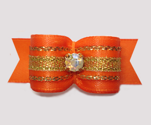 "#2897 - 5/8"" Dog Bow- Gorgeous Sparkle, Orange/Gold, Rhinestone"