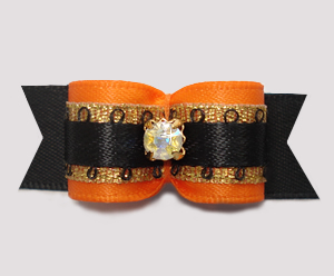 "#2899 - 5/8"" Dog Bow - Gorgeous Orange/Gold/Black, Rhinestone"