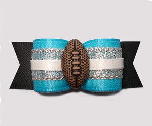 "#2903 - 5/8"" Dog Bow - Football, Blue with Silver & Black"