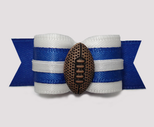 "#2904 - 5/8"" Dog Bow - Football, Blue & White"