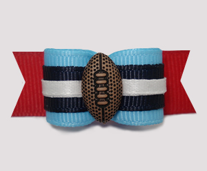 "#2907 - 5/8"" Dog Bow - Football, Blue/Navy/Red"