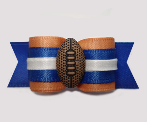 "#2908 - 5/8"" Dog Bow - Football, Old Gold/Blue"
