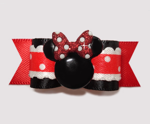 "#2909- 5/8"" Dog Bow - Country Cottage Ruffles/Dots, Minnie Mouse"