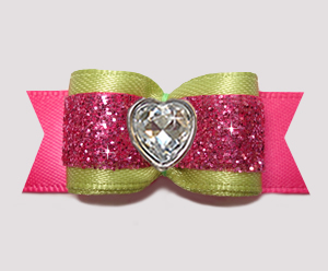 "#2912 - 5/8"" Dog Bow - Glam Green & Pink Glitter, Bling Heart"