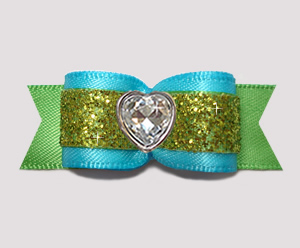 "#2913- 5/8"" Dog Bow - Electric Blue & Green Glitter, Bling Heart"
