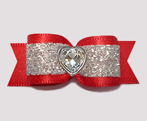 "#2918 - 5/8"" Dog Bow - Showy Red and Silver Glitter, Bling Heart"