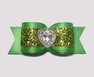 "#2920- 5/8"" Dog Bow- Gorgeous Glitter, Summer Green, Bling Heart"