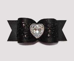 #2924- 5/8 Dog Bow- Gorgeous Glitter, Classic Black, Bling Heart