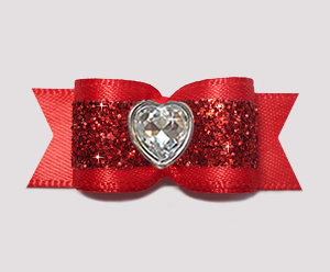 "#2925- 5/8"" Dog Bow - Gorgeous Glitter, Classic Red, Bling Heart"