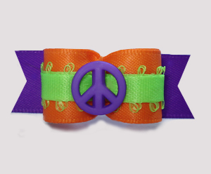 "#2927 - 5/8"" Dog Bow - Peace Out! Vibrant Orange/Lime/Purple"
