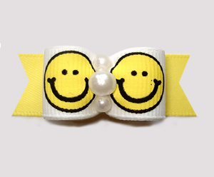 "#2928 - 5/8"" Dog Bow - Happy & Sunny Yellow Smiley Faces"