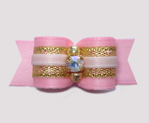 "#2929- 5/8"" Dog Bow - Gorgeous Princess Pink/Gold, AB Rhinestone"