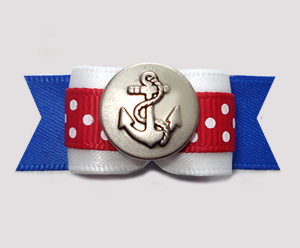 "#2930 - 5/8"" Dog Bow - Ahoy! Sailor Red/White/Blue with Anchor"