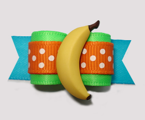 "#2931 - 5/8"" Dog Bow - Dotty Banana-rama! Lime/Orange/Blue"