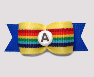 "#2933- 5/8"" Dog Bow- Rainbow Stripe, Yellow/Blue - Choose Letter"