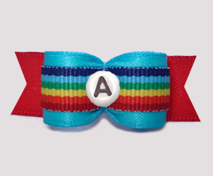 "#2935 - 5/8"" Dog Bow - Rainbow Stripes, Blue/Red - Choose Letter"