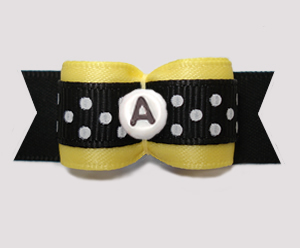 "#2937 5/8"" Dog Bow- Bumblebee Yellow/Black w/Dots. Choose Letter"
