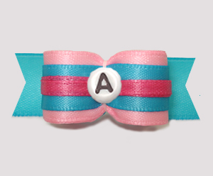 "#2938- 5/8"" Dog Bow- Cotton Candy Pink/Blue - Choose Your Letter"